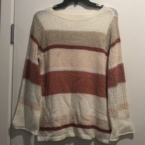 Color block sweater with detailed sleeves
